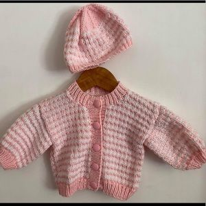 Hand knitted cardigan and beanie set